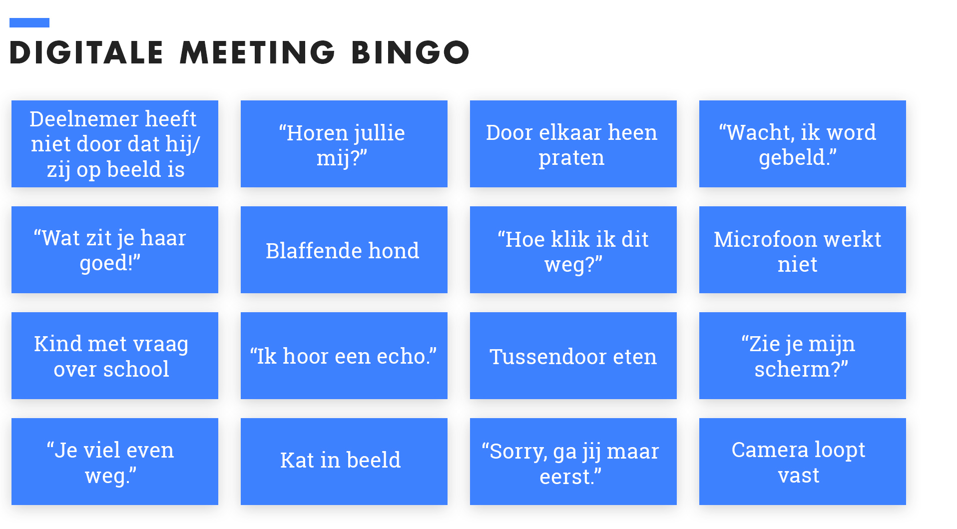 Digitale meeting bingo